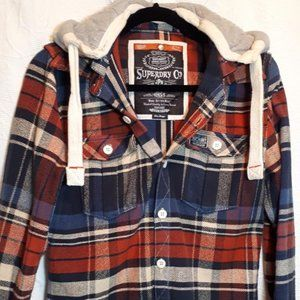 """""""SUPERDRY"""" plaid hooded jacket/top. size 10/12. New condition."""